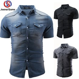 China Men Short Sleeve Shirt Jeans Vintage Mens Clothing Boutique Wear Casual Shirt Winter Men Clothes Style Retro Slim Fit Big cheap vintage clothes boutique suppliers
