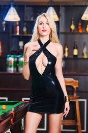 $enCountryForm.capitalKeyWord NZ - 2018 High Quality Women Sexy Backless Bodycon Dress Faux Leather Club Wear Costumes Clothing Black PVC Mini Dress Catsuits Cat Suits