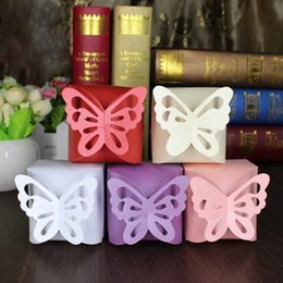 $enCountryForm.capitalKeyWord Australia - 10pcs Folding DIY Candy Box Laser Cut Butterfly Gift Boxes Baby Shower Favor Box Wedding Birthday Party Favour New L1105