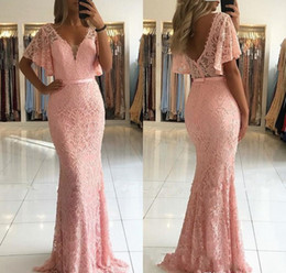 holiday evening gowns floor length Australia - Cheap Pink Mermaid Evening Dress 2019 African V Neck Lace Red Carpet Holiday Women Wear Formal Party Prom Gown Custom Made Plus Size