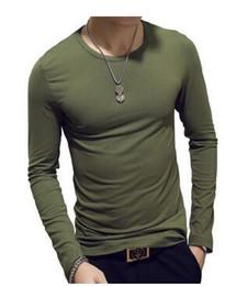 White undershirts online shopping - ECTTC Solid color Plus Size S XXXL round neck T Shirts Men Long Sleeve Cotton Fitness men s Undershirt Hot Hot Fashion