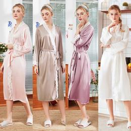 $enCountryForm.capitalKeyWord NZ - Women new silk pajama lady spring and summer home full sleeve ankle length female robes bath robe bridesmaid robes satin robe