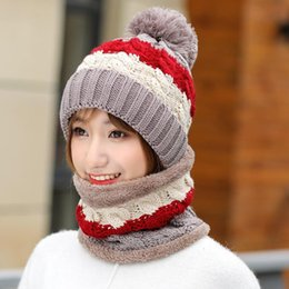 Red bobble hat online shopping - New Winter Women s Velvet Wool Hats Twist color matching Beanies Bobble Hat Female Knitted Hats Sets