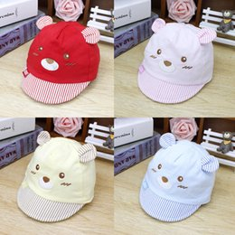 Infant Bear Hats Australia - Cartoon Bear Design Women Girls Baby Hat Baseball Cap Cute Cotton Infants Girls Summer Sun Hat With Ear Spring Autumn Peaked Cap