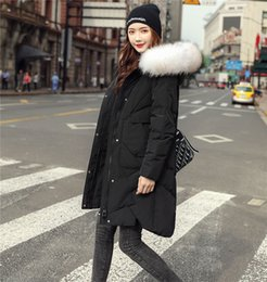 Wholesale fur collared coats womens for sale - Group buy Designer Womens Winter Down Jacket Fashion Solid Faux Fur Collar Teenager Warm Coats Casual Long Parkas