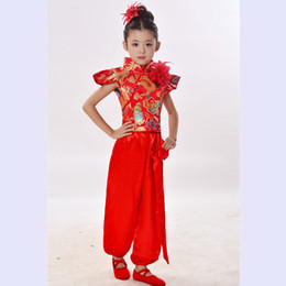Wholesale chinese clothes girls resale online - Children Chinese Red Costumes Dancewear Yangko Dance Costumes Girls Chinese Folk Dance Clothes