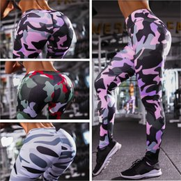 wholesale women camouflage clothing 2019 - Sporting Camouflage Leggings For Women Fitness Clothing High Waist Workout Pants Jeggings Quick Dry Activewear Female Le
