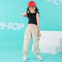 clothes for hip hop dancing Australia - Child Cool Hip Hop Clothing Running Casual Pants Black Tank Top Crop for Girls Jazz Dance Costume Wear Ballroom Dancing Clothes