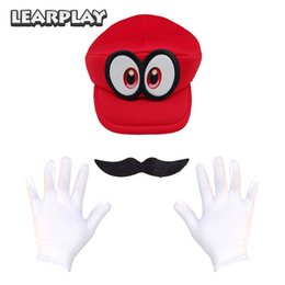 Cosplay Mario Red Australia - Game Super Mario Odyssey Cappy Hat Anime Bros Luigi Waluigi Wario Cosplay Caps Moustache Gloves Adults Kids Christmas Party Prop Game Super