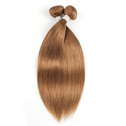Brazilian Straight Human Hair Bundles UK - #30 Golden Brown Straight Hair Bundles Brazilian Peruvian Malaysian Indian Virgin Remy Human Hair Extensions 1 or 2 Bundles 16-24 Inch