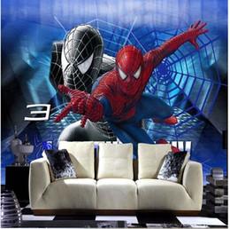 Vente en gros 5d Livraison gratuite personnalisé papier peint moderne à grande échelle animation 3D Spiderman canapé chambre TV toile de fond papier peint arkadi