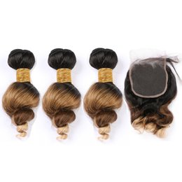 Honey brown Hair online shopping - Three Tone B Ombre Loose Wave Indian Human Hair Weaves Bundles with Closure Black Brown to Honey Blonde Ombre Lace Closure