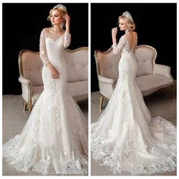Discount simple wedding dress slim sleeves 2019 Lace Quarter Sleeves Lace Appliques Slim Mermaid Wedding Dresses Customized Long V-Shape Back Bridal Gowns Formal L