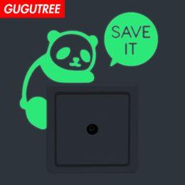 $enCountryForm.capitalKeyWord Australia - Decorate Home Diy panda cartoon art glow wall sticker decoration Decals mural painting Removable Decor Wallpaper G-556