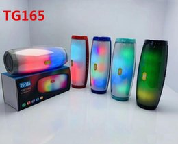 Mp3 Music online shopping - TG165 portable wireless bluetooth speaker led flash music mp3 player super bass waterproof subwoofer SD card player with mic mah