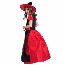 b06b056e27996 Accessoires Costumes Cosplay Pas Cher Fantaisie Rouge Costume De Sorcière  Pour Enfants Maille Robe De Soirée En Dentelle Avec Chapeau Enfants Anime  Cosplay ...