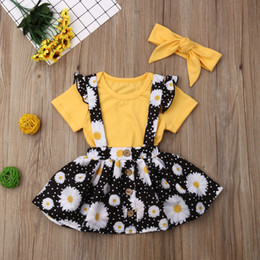 floral print knee length tops Australia - Toddler Baby Kids Girls Solid Tops Floral Outfits Solid color T-shirt top + Daisy flower print strap skirt + hair band set