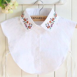 short fake collars UK - Newly Cotton Embroidery Fake Collar Shirt Female Fake Collar Sweater High Quality Vest Blouse Shirt Detachable Turn Down Collar