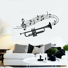 modern musical instruments Canada - Trumpet Musical Wall Stickers Nursery Kids Room Instrument Music Notes Vinyl Wall Decal Living Room Kitchen Decoration