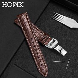 $enCountryForm.capitalKeyWord Australia - Howk Real Alligator Watch Strap Genuine Leather Watch Band For Men Or Women Watch Accessories 22mm 18mm 20mm24mm 16mm Y19052301