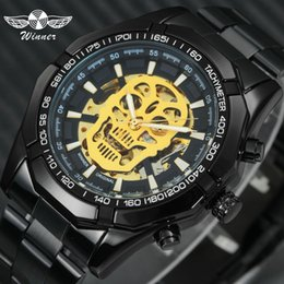 cool wrist bracelets UK - Winner Steampunk Skull Auto Mechanical Watch Men Black Stainless Steel Strap Skeleton Dial Fashion Cool Design Wrist Watches J190705