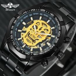 $enCountryForm.capitalKeyWord Australia - Winner Steampunk Skull Auto Mechanical Watch Men Black Stainless Steel Strap Skeleton Dial Fashion Cool Design Wrist Watches J190705