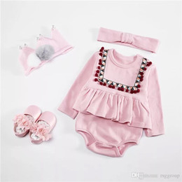 pink tutu set Australia - INS Fall Toddler Baby Girls Tassel Rompers Pink Long Sleeve Jumpsuits with Hairbands Set Ruffle Collar Kids Girls Bodysuit Baby Romper 0-2T