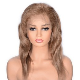 cheap human hair lace fronts UK - Human Hair Lace Front Wigs 8# Brazilian Wavy Cheap Lace Wig Pre Plucked Hairline 130% Density Ping