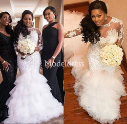 57eeb184c7 EngagEmEnt drEssEs long trains online shopping - Plus Size Arabric Mermaid  Lace Wedding Dresses Long Sleeves