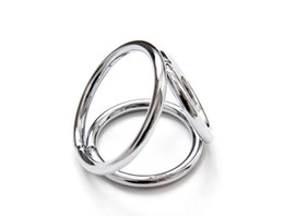 cheap male chastity Canada - Male Penis Ring Cock Rings Chastity Ring Device Metal Alloy Perfect Chrome Penis Restrain Testicle Bondage Gear Dong Rings Cheap Price New