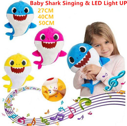 27cm doll online shopping - Hot Color cm cm cm LED Baby shark Toys With Music Cute Animal Plush New Baby Shark Dolls Singing English Song LED Light toys