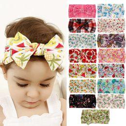Headbands Bow Australia - 15 Colors Baby Girl Nylon Flower Flamingo Print Headband fashion soft Bohemia Bow Girl Infant Hair Accessories Headband