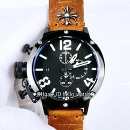 $enCountryForm.capitalKeyWord Australia - Left Handed U-72 U72 Big Face PVD Black Steel Case Black Dial Quartz Chronograph Mens Watch Strapwatch Brown Leather Strap Sport Watches