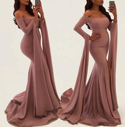 Boat Neck Collar Jacket Australia - Sexy Off Shoulder Dusty Mermaid Prom Dresses With Long Slit Sleeve Ribbon New 2019 Boat Neck Simple Trumpet Evening Gowns Formal Event Wear