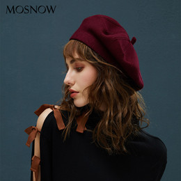 Wholesale Winter Berets For Women Vintage Wool Knitted Hats Female New British Style Beanie Lady Painter Bonnet Hats Lady Girl Berets S18120302