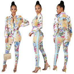 Wholesale full cardigan resale online - Sexy Sweat Suits Two Piece Sets Tracksuit Women Casual Long Sleeve Autumn Print T shirt Tops and Full Length Pants sets plus size XXL