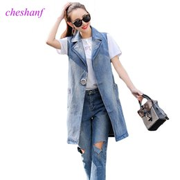 e081b99436aa3 Plus Size S-3XL 2018 Summer Jacket Sleeveless Cardigan Ladies Jeans  Waistcoats Long Denim Vest Women Slim Jacket Chalecos Mujer