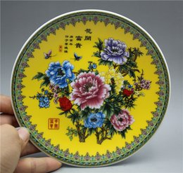 Chinese Porcelain Painting Australia - Chinese fine porcelain plate painted peony flowers and butterflies pattern