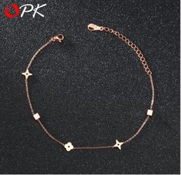 Wholesale Simple and compact Rose Gold Footchain Female Fashion Fine Chain Titanium Steel Footchain Jewelry