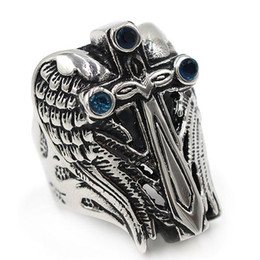$enCountryForm.capitalKeyWord Australia - Titanium steel Cross wing Charms Mens Jewelry Rings Designer Love Brand Men Ring Charm Fashion Designer Jewelry Men Rings