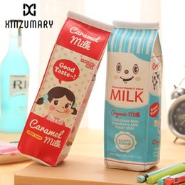 $enCountryForm.capitalKeyWord UK - Korean Creative Simulation Milk School Pencil Case Cute PU Leather Pencil bag Kawaii Stationery pouch office school supply zakka