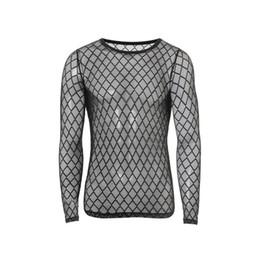 Venta al por mayor de Nueva moda para hombre sexy gasa transparente camiseta Utra-delgada O-cuello de malla de diamante de manga larga de la aptitud de la camiseta de los hombres chaleco