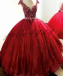 $enCountryForm.capitalKeyWord Australia - 2019 Cheap Red Crystal Quinceanera Dresses For Girls Ball Gown V Neck Appliques Long Sweet 16 Prom Dresses Formal Gowns