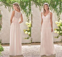 Опт Новые элегантные кружева шифон платья невесты V шеи линия длинные платья фрейлины страна свадебные платья гостя на заказ