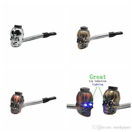 $enCountryForm.capitalKeyWord Australia - Mini Herb Skull Head Shape Filter Smoking Pipe Bent Lip Induction Electronic lighting Great High Quality Innovative Design Hot Cake