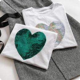 Love Tees Australia - Summer Tops Colour Change Love Harajuku Women T Shirt Fashion Sequins Cotton Short Sleeve Casual Tees Female
