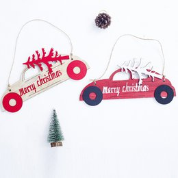 $enCountryForm.capitalKeyWord NZ - Car Shape New Year Natural Wood Christmas Tree Ornaments Pendant Hanging Xmas Home Party Decor Christmas Party Accessories