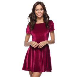 abfc74f5a32 Crush Velvet UK - 2019 Women Elegant Dress Spring Summer Round Neck Short  Sleeve Crushed Velvet