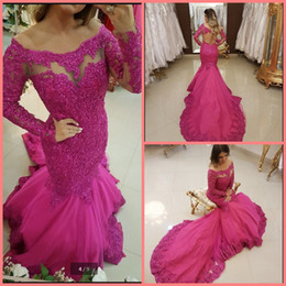 Real Sexy Pictures NZ - Vestido De Festa mermaid fuchsia long sleeve lace appliques prom dress floor length fashion sexy real picture prom gowns best selling 2019
