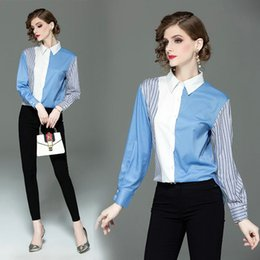 Young Girl Shirts Australia - Fashion Lapel Womens Shirt Young Girl Striped Spell Color Printing Blouses Casual Sweet Student Shirt Ladies Office Blouses